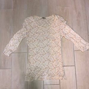 Cream color with white lace quarter sleeve shirt
